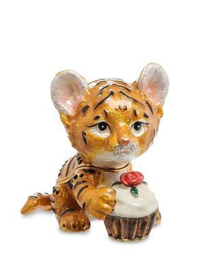 Шкатулка Тигренок с тортиком Art East. Цвет: темно-бежевый