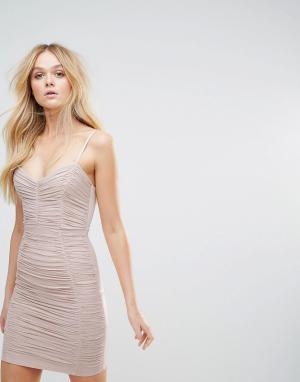 Lipsy Платье мини с присборенной отделкой. Цвет: розовый