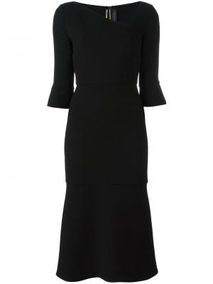 Платье с асимметричной горловиной Roland Mouret. Цвет: чёрный