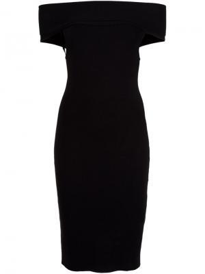 Приталенное платье с открытыми плечами Rosetta Getty. Цвет: чёрный