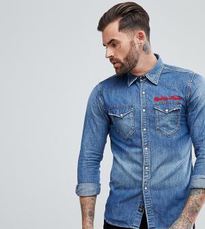 Replay Джинсовая рубашка с вышивкой. Цвет: синий