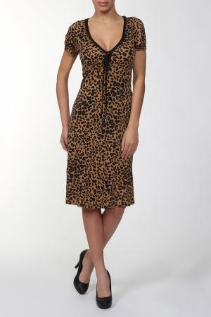 Повседневное платье с V-образным вырезом Galliano. Цвет: леопардовый