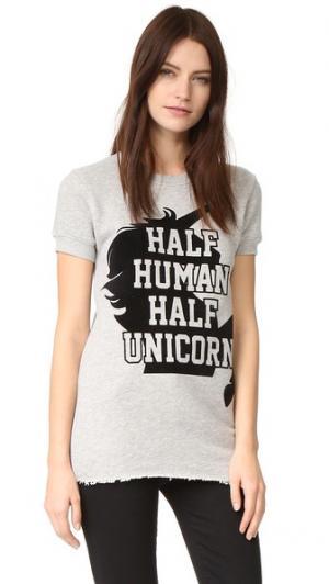 Толстовка Half Unicorn с короткими рукавами CHRLDR. Цвет: серый меланж