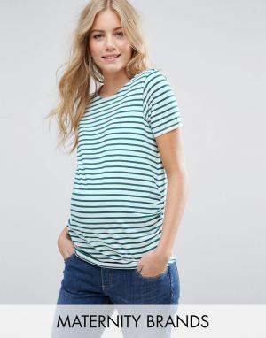 New Look Maternity Футболка в полоску для беременных. Цвет: зеленый