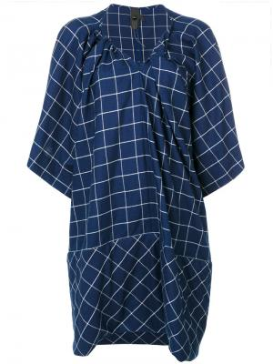 Check embroidered dress Bernhard Willhelm. Цвет: синий