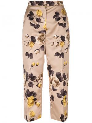 Укороченные брюки с цветочным принтом Rochas. Цвет: коричневый