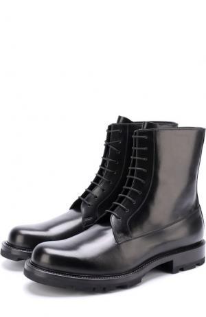 Высокие кожаные ботинки на шнуровке Jil Sander. Цвет: черный