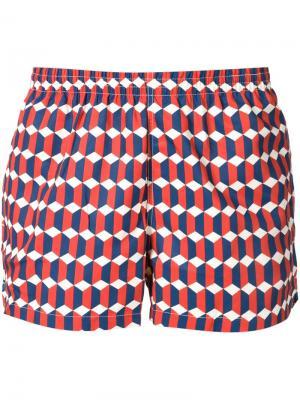 Шорты для плавания с геометрическим принтом Timo Trunks. Цвет: красный