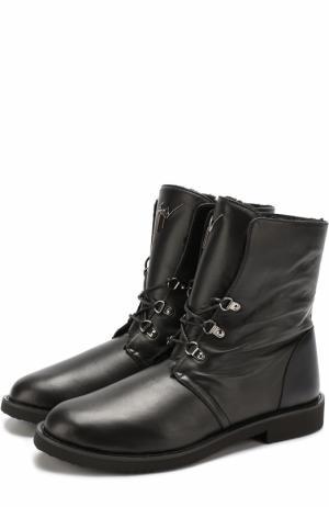 Высокие кожаные ботинки на шнуровке с внутренней меховой отделкой Giuseppe Zanotti Design. Цвет: черный