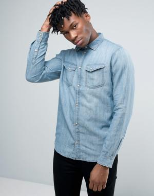 Pepe Jeans Джинсовая рубашка в стиле вестерн. Цвет: синий