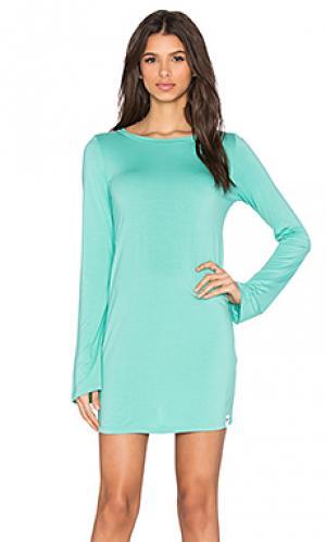 Платье с круглым вырезом и длинным рукавом rocket Michael Lauren. Цвет: зеленый