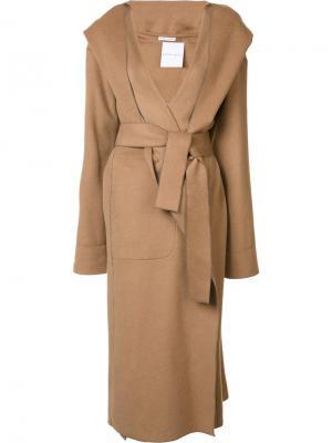 Длинное пальто с капюшоном Barbara Casasola. Цвет: коричневый