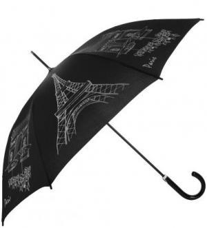 Черный зонт-трость с контрастным принтом Doppler. Цвет: черный