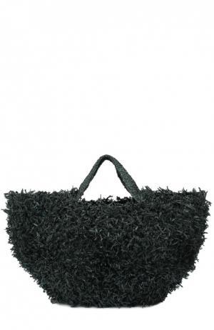 Плетеная сумка из рафии Sans-Arcidet. Цвет: темно-зеленый