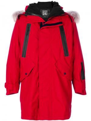 Пальто с капюшоном и принтом-логотипом Dsquared2. Цвет: красный