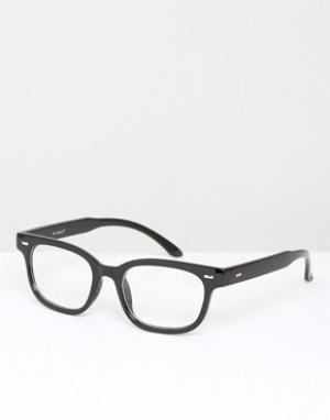 AJ Morgan Черные прямоугольные очки с прозрачными стеклами. Цвет: черный