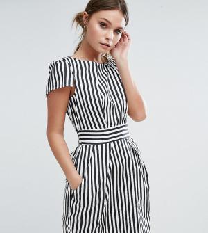 Closet London Платье в полоску с короткими рукавами. Цвет: черный