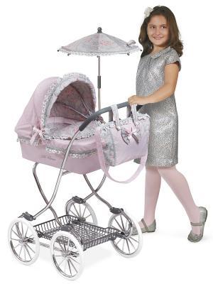 Коляска с сумкой и зонтом, Романтик, розовая 90 см. DeCuevas. Цвет: розовый