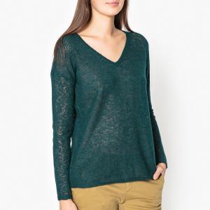 Пуловер из тонкого трикотажа с V-образным вырезом MANANA HARRIS WILSON. Цвет: зеленый,кирпичный