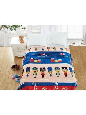 Плед велсофт,1,5-спальный Dream time. Цвет: синий, красный, персиковый