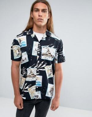 Dickies Рубашка классического кроя с принтом. Цвет: черный