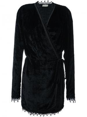 Бархатное платье с запахом Attico. Цвет: чёрный