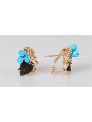Серьги Бирюза-нефрит Lotus Jewelry. Цвет: золотистый, бирюзовый, зеленый