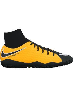 Бутсы HYPERVENOMX PHELON 3 DF TF Nike. Цвет: оранжевый, белый