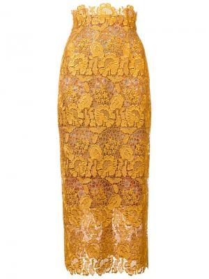Кружевная юбка Monique Lhuillier. Цвет: жёлтый и оранжевый