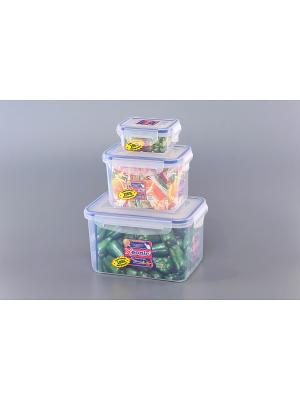 Набор 3 - х прямоугольных контейнеров XEONIC CO LTD. Цвет: прозрачный, синий