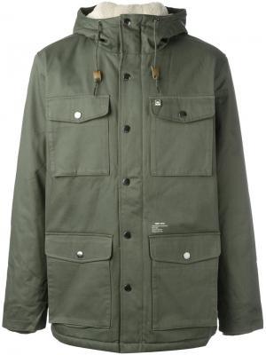 Куртка с капюшоном Heller Obey. Цвет: зелёный