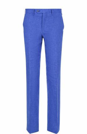 Льняные брюки прямого кроя Germano. Цвет: голубой