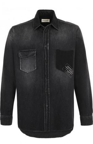 Джинсовая рубашка с потертостями Saint Laurent. Цвет: темно-серый