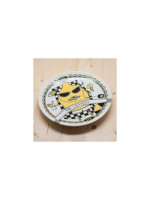Тарелка Мистер лимон Kawaii Factory. Цвет: светло-желтый, белый