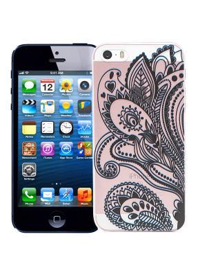 Чехол для iPhone 5/5s Мехенди Цветок (черный) Kawaii Factory. Цвет: черный, розовый