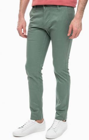 Хлопковые брюки цвета хаки Dockers. Цвет: хаки