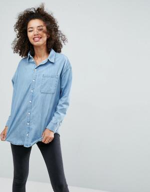 ASOS Выбеленная синяя джинсовая рубашка герлфренд. Цвет: синий
