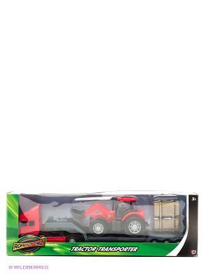 Фермерский грузовой автомобиль c трактором Красный HTI. Цвет: красный