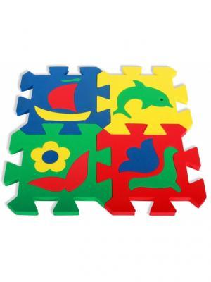 Развивающий коврик Мозаика (14х14см, 4 шт.) БОМИК. Цвет: светло-зеленый, желтый, красный