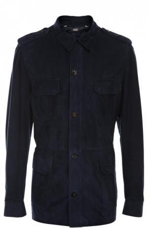 Замшевая куртка Billionaire. Цвет: темно-синий