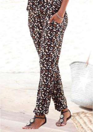 Пляжные брюки Lascana. Цвет: коричневый с рисунком