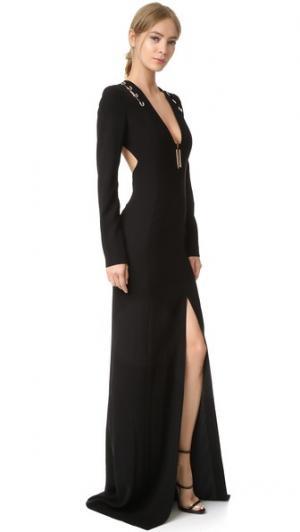 Вечернее платье с длинными рукавами Mugler. Цвет: голубой