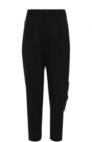 Шерстяные брюки свободного кроя с заниженной линией шага Yohji Yamamoto. Цвет: черный