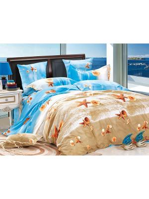 Постельное белье Plyaj 2,0 сп. Amore Mio. Цвет: голубой, бежевый, белый
