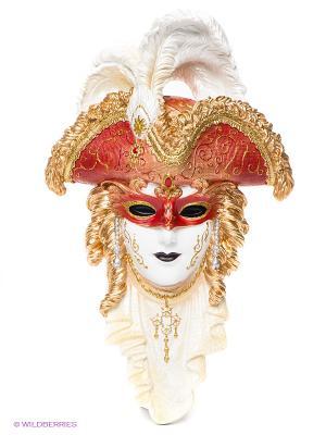 Венецианская маска Треуголка Veronese. Цвет: красный, золотистый, белый