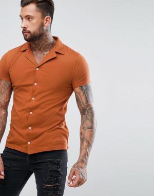 BoohooMAN Красно-бурая трикотажная рубашка с отложным воротником. Цвет: золотой