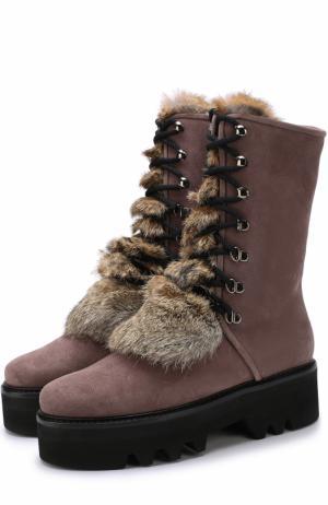 Замшевые ботинки Ouf с отделкой из меха кролика Walter Steiger. Цвет: коричневый