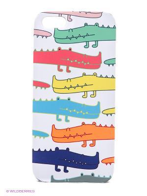 Чехол для IPhone 5 Большие крокодилы Mitya Veselkov. Цвет: серый, оранжевый, желтый