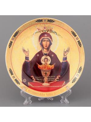 Тарелка декоративная Пресвятая Богородица Неупиваемая Чаша Elan Gallery. Цвет: золотистый, коричневый