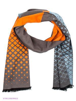 Шарф Moltini. Цвет: оранжевый, серо-коричневый, серо-голубой